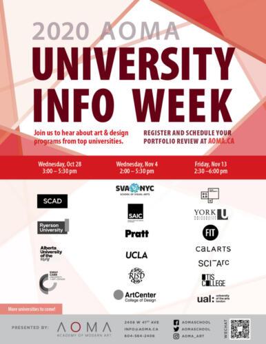 2020 Univeristy Info Night Poster Nov10